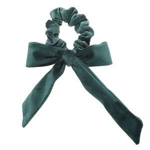 Accessories - Emerald Velvet scrunchie with bow
